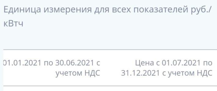 Тариф на электроэнергию с 01.07.2021 — 2,34 руб. за кВт*ч
